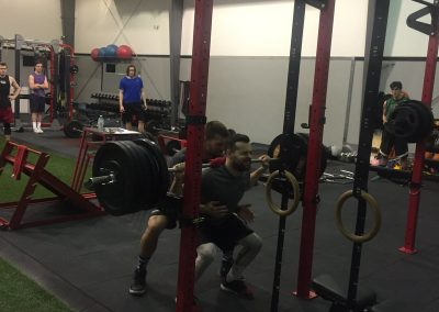 Male athlete weight training